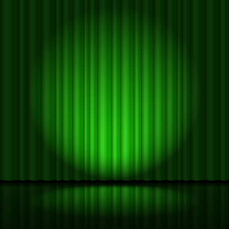 light game: Stage with green curtain and spotlight great, heart-shaped