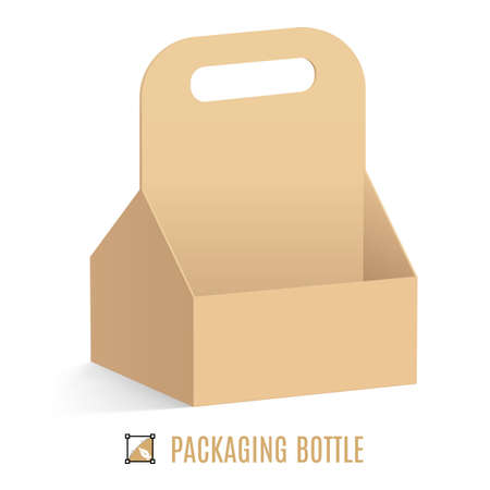 paperboard packaging: Cardboard packaging for bottles isolated on  white background