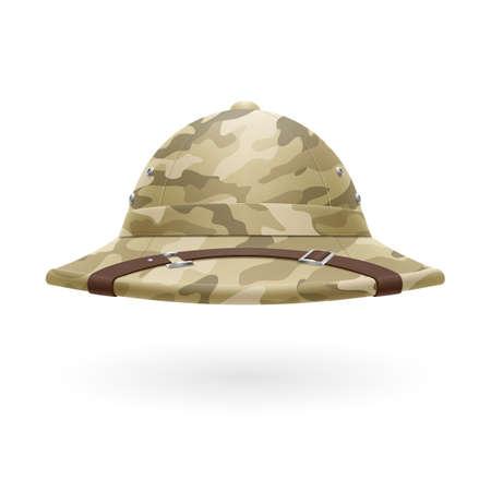 Cork camouflage hat isolated on white background