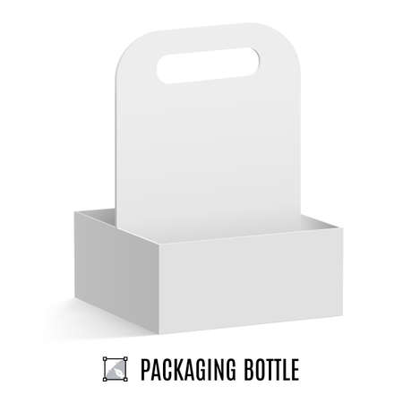 takeout: White cardboard packaging for bottles isolated on background