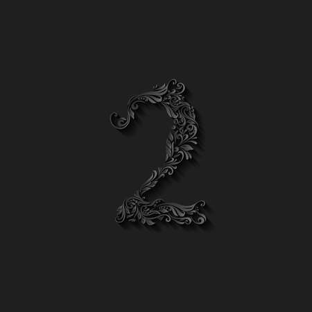 Richly decorated two digit on black background Illustration