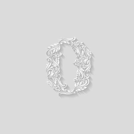 richly: Richly decorated zero digit on gray background