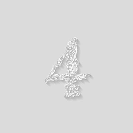 richly: Richly decorated four digit on gray background Illustration