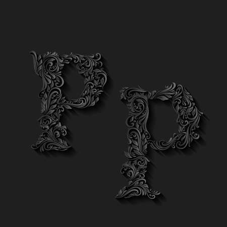 lower case: Handsomely decorated letter p in upper and lower case on black Illustration