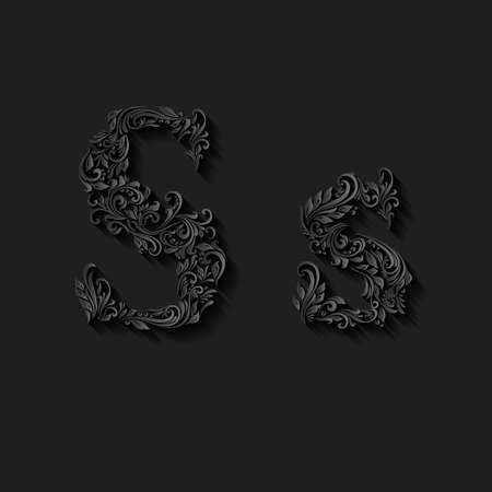 upper case: Handsomely decorated letter s in upper and lower case on black Illustration