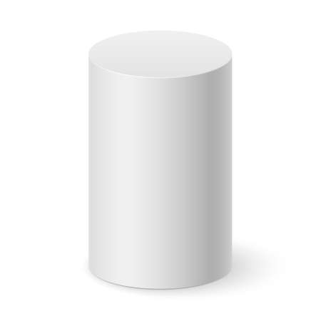 White cylinder isolated on white background for design Vector
