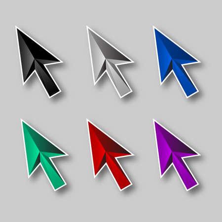 logo informatique: Arrows icons set sur fond gris pour la conception Illustration