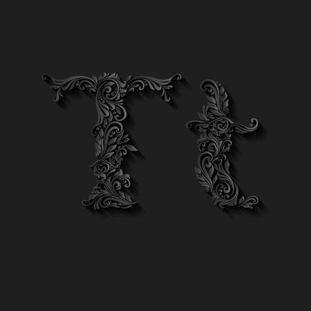 lower case: Handsomely decorated letter t in upper and lower case on black