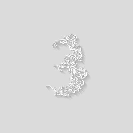 richly decorated: Richly decorated three digit on gray background Illustration