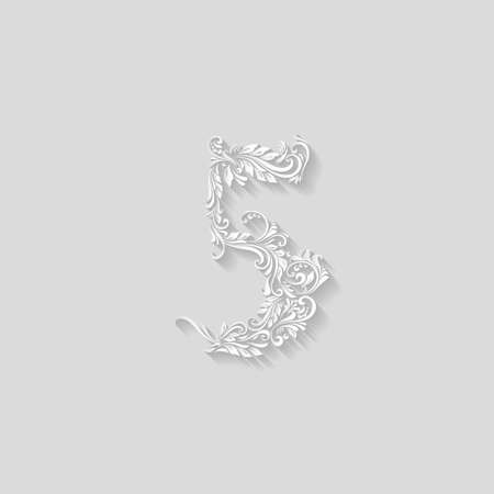 richly decorated: Richly decorated five digit on gray background