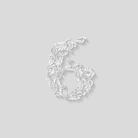 is elegant: Richly decorated six digit on gray background