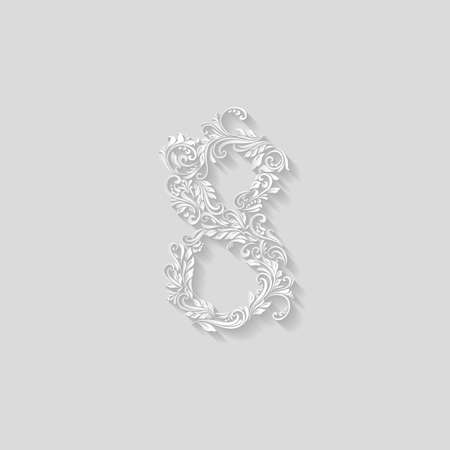 richly: Richly decorated eight digit on gray background