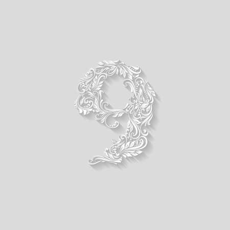 richly decorated: Richly decorated nine digit on gray background Illustration