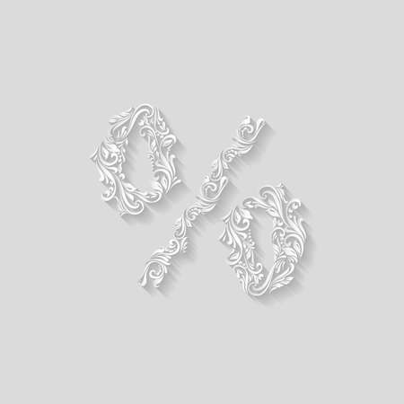 twirls: Richly decorated gray percent sign with twirls