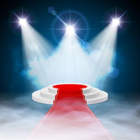 Ronde stapte wit podium met rood tapijt en verlichte schijnwerpers
