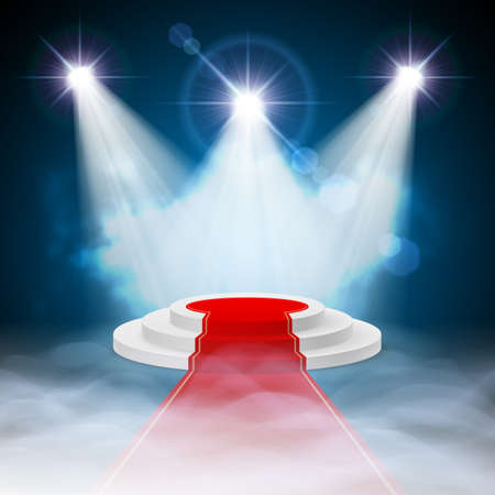 Round stepped white podium with red carpet and illuminated spotlights