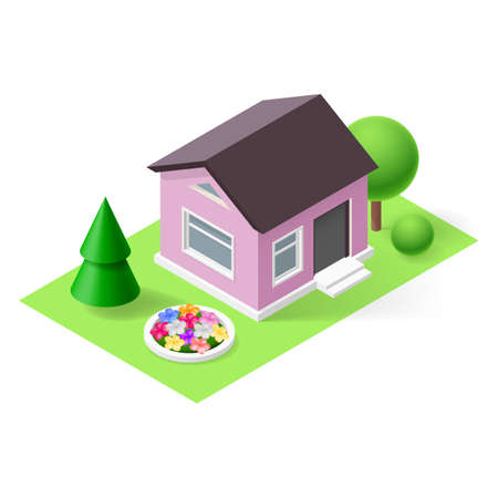Isometric 3d small home with flowers, green grass and trees Vector