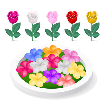 flowerbed: Flowerbed with colorful flowers isolated on white background