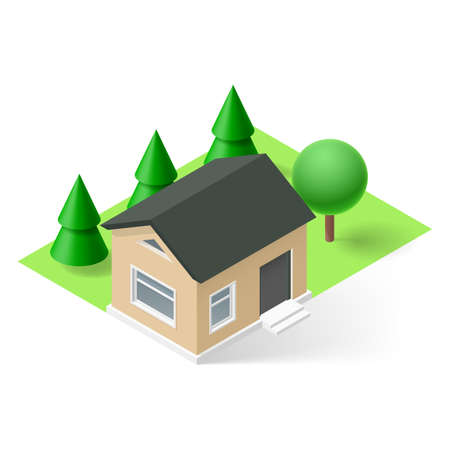 ownership: Isometric small house with green grass and trees