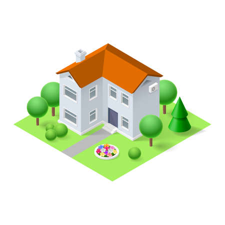 green roof: Isometric 3d small home with green grass and trees