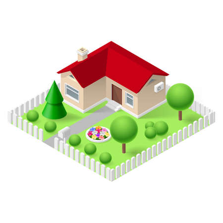 fenced: Isometric 3d small home fenced with green grass and trees