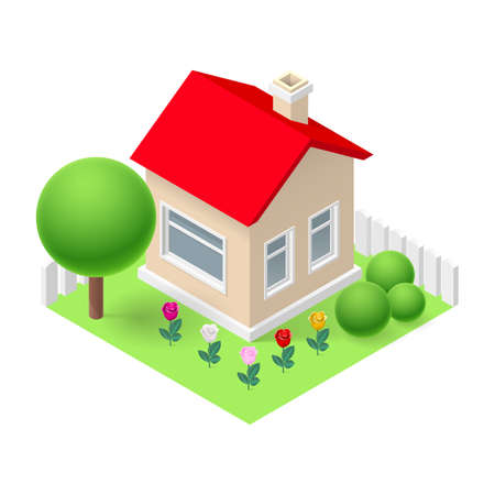 fenced: Isometric 3d small home fenced with flowers and trees