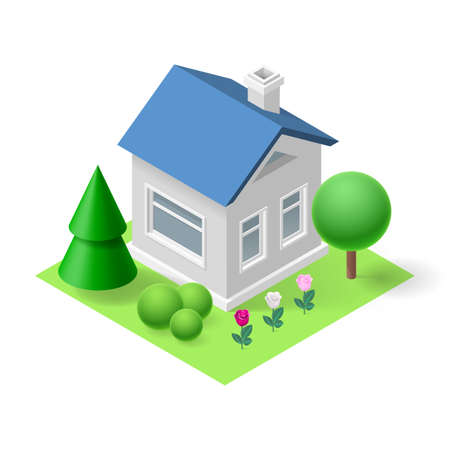 ownership: Isometric 3d small home  with flowers and trees