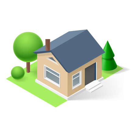 Isometric small home with flowers and trees Vector