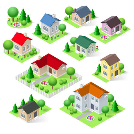 House set icons isometric 3d with flower trees and fence Vector