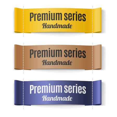 yellow design element: Set of Labels Premium series hand made yellow brown and purple
