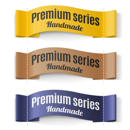 homemade style: Set of Labels Premium series hand made yellow brown  purple