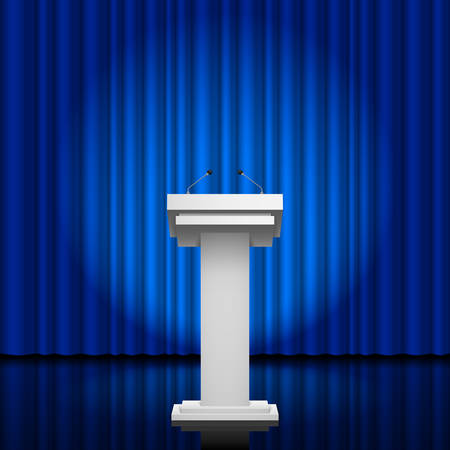 spokesman: Tribune for the performance of speech on a blue background