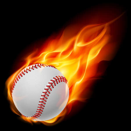 flames icon: Baseball on fire. Illustration on black background