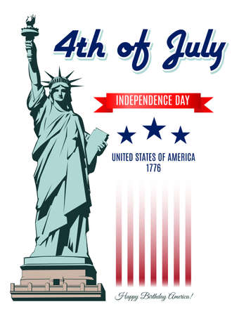 national women of color day: Independence Day Statue of Liberty isolated on white Illustration