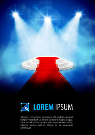 semaforo rojo: Podium con alfombra roja en el centro de atenci�n de humo