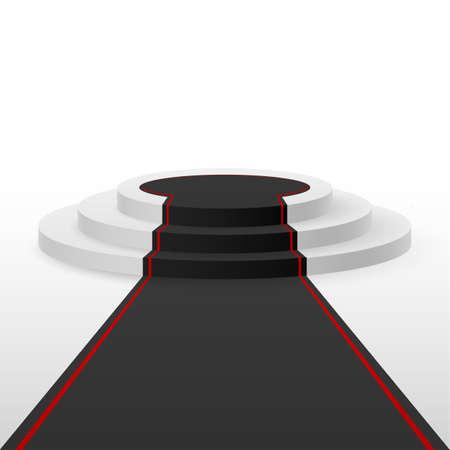 podium: White podium black carpet with red lines Illustration