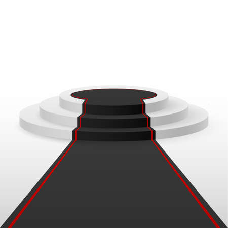 White podium black carpet with red lines Illustration
