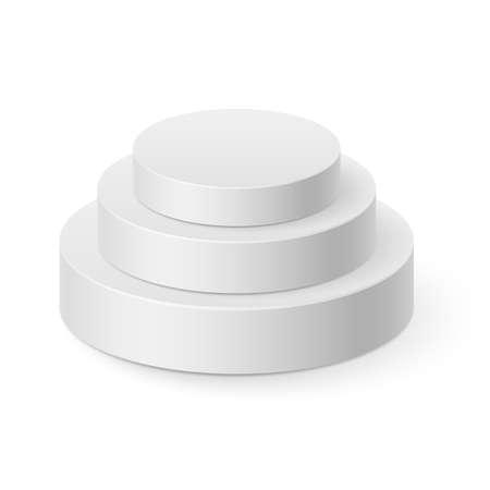 pyramidal: White cylinder pyramid isolated on white background Illustration