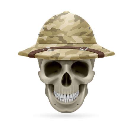 bony: Cork camouflage hat on skull isolated on a white background