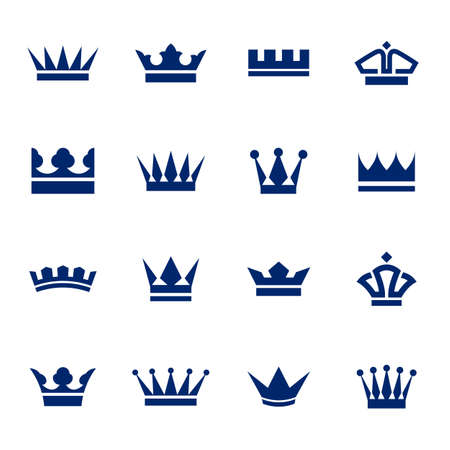 crown logo: Set of icons  crowns isolated on  a white background
