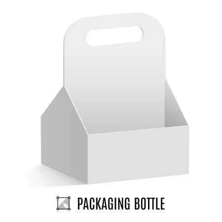 White cardboard packaging for bottles isolated on a background
