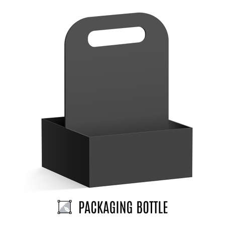 cardboard packaging: Black cardboard packaging for bottles isolated on white background Illustration