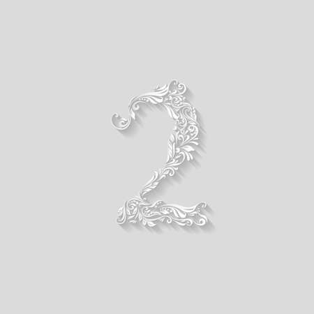 richly decorated: Richly decorated digit two on gray background