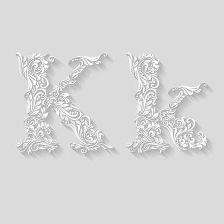 letter k: Handsomely decorated letter K in upper and lower case on gray Illustration