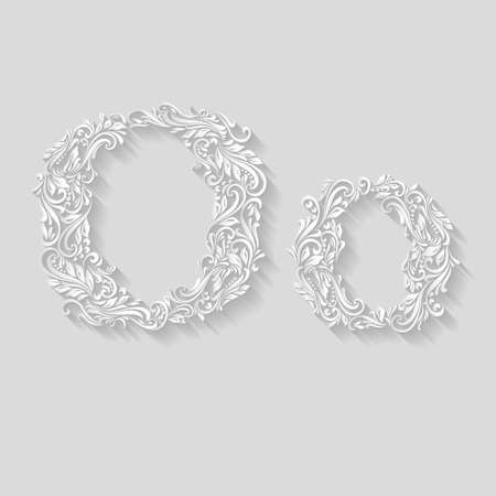 letter case: Handsomely decorated letter O in upper and lower case on gray