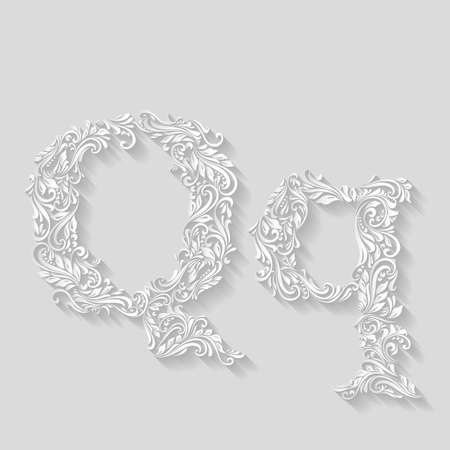 lower case: Handsomely decorated letter Q in upper and lower case on gray