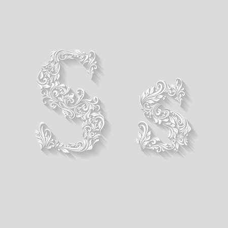 Handsomely decorated letter S in upper and lower case on gray Illustration