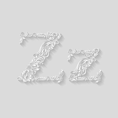 lower case: Handsomely decorated letter Z in upper and lower case on gray