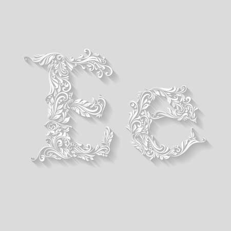 lower case: Handsomely decorated letter E in upper and lower case on gray