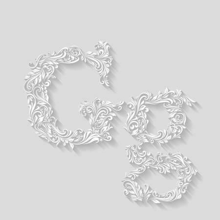 letter case: Handsomely decorated letter G in upper and lower case on gray